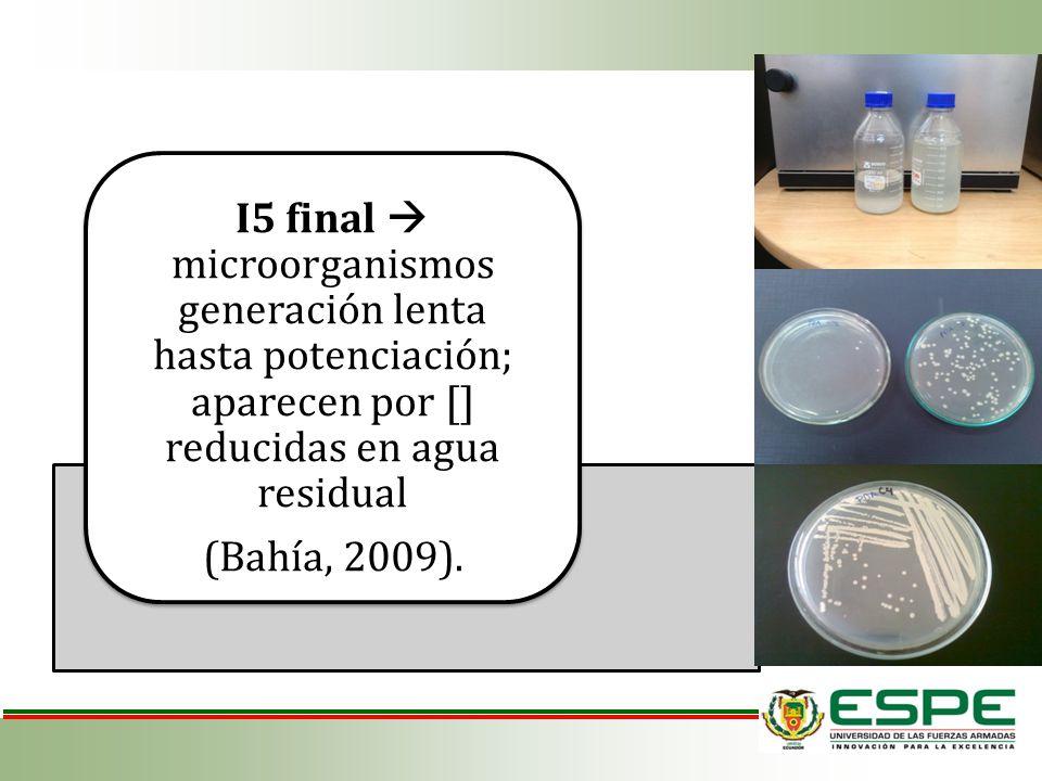 I5 final  microorganismos generación lenta hasta potenciación; aparecen por [] reducidas en agua residual